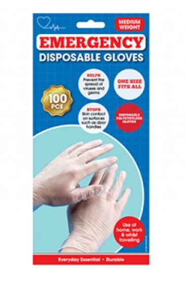 Emergency Universal Size Disposable PU Gloves x 100